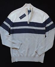 NWT Tommy Hilfiger Men's Half Zip Mock Neck Striped Sweater Size: XXL