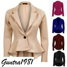LADIES WOMEN'S LONG SLEEVES ONE BUTTON FRILL PEPLUM BLAZER JACKET COAT TOP 8-24