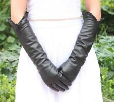 Women 18'' Long Genuine Sheep Leather Warm Winter Opera Gloves Ruffle Hem Black