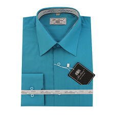 Solid Mens Dress Shirt French Convertible Cuff Boltini Italy - Turquoise