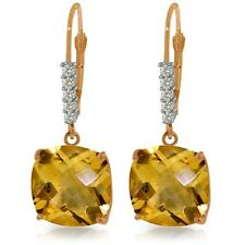 Genuine Citrine Cushion Cut Gemstones & Diamonds Dangle Earrings 14K. Solid Gold