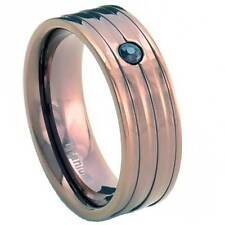 8mm Titanium Ring Brown Round Coffer Gold IP Band Cubic Zirconia Cz