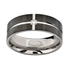 Titanium Flat Top Black Band Grooved Cubic Zirconia Men's Wedding Ring