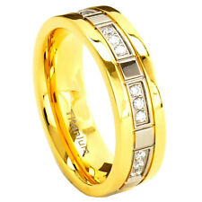 7mm Titanium Ring Clear Round Gold IP Band Cubic Zirconia  Women's Wedding Band