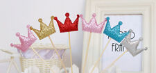 Star Crown Heart Cake Toppers Party Birthday Wedding Cupcake Decorations 1set