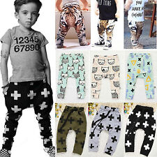 Kids Baby Boys Girls Cartoon Long Pants Casual Harem Pant Trousers Nightwear New