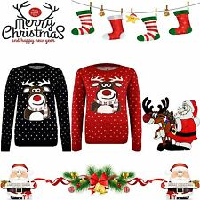 Unisex Knitted Xmas Rudolf Reindeer Novelty Christmas Jumper Sweater TOP Quality