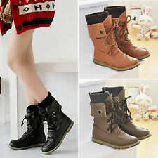 New Women Lace Up Ankle Boots Casual Biker Motorcycle Military Combat Boot Shoes