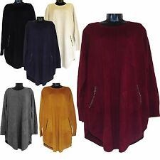 PLUS SIZE WOMENS LAGENLOOK QUIRKY SOFT KNIT WOOL DIAMANTE TUNIC TOP DRESS 14-20