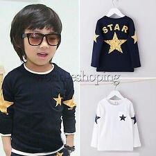 New Boys Girls Kids T-shirt Clothes Baby Long Sleeve Top Casual Tee Shirt Jumper