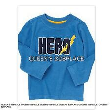 Nwt Crazy 8 boys size 4 4T blue Hero t-shirt top long sleeve embroidered new