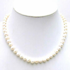 "SALE small 6-7mm White natural Freshwater PEARL 17"" Necklace -nec5613"