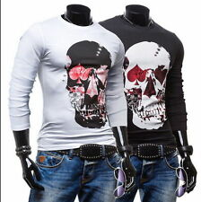 Men's Fashion Slim Fit Skull Printed Long Sleeve O-Neck Casual Tops T-Shirt