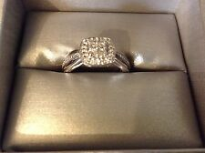 NIB ZALES Quad Diamond Accent Square Frame Promise Ring in Sterling Silver