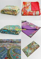 Indian Handmade Quilt Twin Kantha Bedspread Throw Cotton Blanket Ralli Gudari