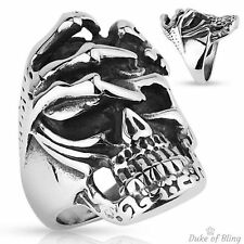 Stainless Steel Skull with Skeleton Hand Biker Ring, Size 9-14