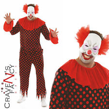 Mens Clown Costume Halloween Freaky Fancy Dress Adult Circus Horror Outfit New