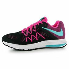Nike Zoom Winflo 3 Running Shoes Womens Black/Green/Pink Run Trainers Sneakers