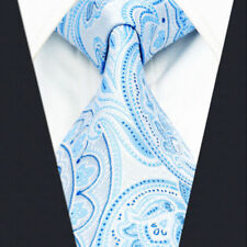 A38 Mens Neckties Ties Extra Long Size Floral Azure Blue Paisley Jacquard Woven