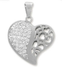 925 Silver Heart Pendant - Jewelry pendant Hearts with zirconia