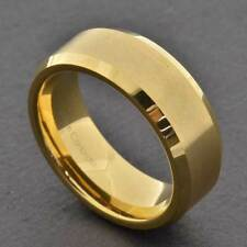 8mm Gold Tungsten Carbide Domed Men's Wedding Band / Ring