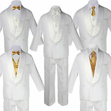 Baby Teen White Satin Shawl Lapel Suits Tuxedo GOLD Satin Bow Necktie Vest