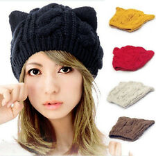 LADIES KNIT CROCHET BRAIDED CAT EARS BERET BEANIE SKI KNITTED HAT CAP DECOROUS