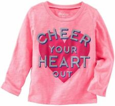 """NWT Oshkosh Pink Glittery """"CHEER YOUR HEART OUT"""" Tee T-shirt 2T 4T $20"""