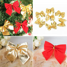 12Pcs Bowknot Xmas Tree Ornament Bow Hanging Decoration Christmas Gift DIY Decor