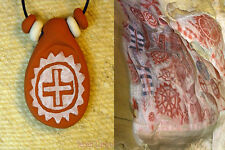 Native American Chumash Sun Wheel Clay Pendant Necklace - Rock Art + Beads