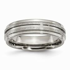 Chisel Titanium Grooved Ridged Edge 6mm Satin and Polished Band Size 6 to 13