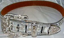ATLAS WESTERN COWGIRL BLING COWGIRL LEATHER BELT CLEAR RHINESTONE CRYSTAL NEW