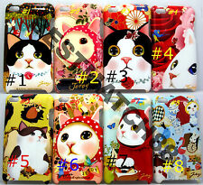 fit iPod touch 4th  itouch kitten cat kitty face hard case flower butterfly//