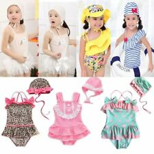 Baby Kid Girl Swimwear Swimsuit Swimming Beach Costume Outfit+Hat Set Size 1-6