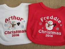 Personalised Christmas Baby Bib - Embroidered - Gift - Snowman - ANY NAME