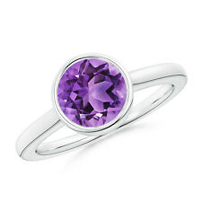 1.70 ct Round Natural Amethyst Solitaire Ring in 14k Gold / platinum