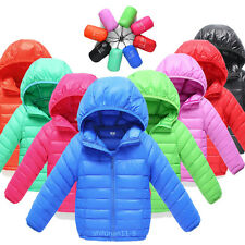 Kids Boys Girls Winter jacket Coat Duck Down Snowsuit Hooded Warm Quilted Puffer