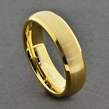 6mm Tungsten Gold Satin Dome Top Shiny Beveled Edge Unisex Wedding Band