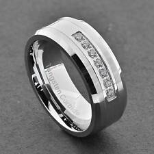 8mm Shiny Tungsten Carbide Cubic Zirconia Jewelry Men's Wedding Band