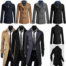 Mens Slim Trench Coat Winter Warm Double Breasted Overcoat Jacket Parka Outwear