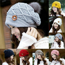 Hot Women Girls Warm Winter Button Beanies Knit Thick Ski Cap Hat Fashion NEW 12