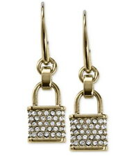 NWT $85 Michael Kors Pave Padlock Charm Drop Earrings Gold or Silver tone