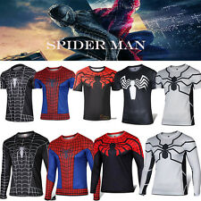 Mens Captain America Spiderman Costume Tee Sports Jersey Compression T-shirt Top