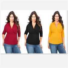 Women Blouse Deep V-Neck  Long  Sleeves Deep V Fitted Rubbed Knit Plus Size Top