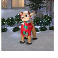 Inflatable Rudolph Lighted 3.5 Ft Reindeer Airblown Christmas Yard Decor NEW
