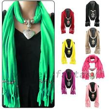 Fashion Jeweled Pendant Womens Vintage Style Scarf Scarves Wrap Stole Shawl Cape