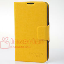 Yellow Wallet PU Leather Case Cover Matt For Samsung Galaxy Note II 2 N7100