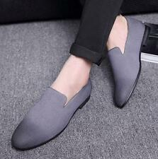 Mens pointy Casual Dress Shoes Suede Slip on Loafers FLat Oxfords US sz