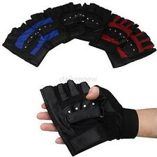Mens mittens Winter Leather Motorcycle Biker Fingerless Touch Screen Warm Gloves