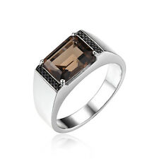 Jewelrypalace Men's Genuine Smoky Quartz Black Spinel Ring 925 Sterling Silver